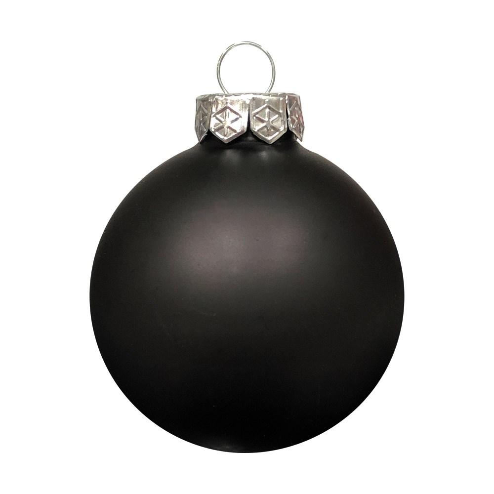 Black Matt & Shiny Glass Baubles - 36 x 57mm