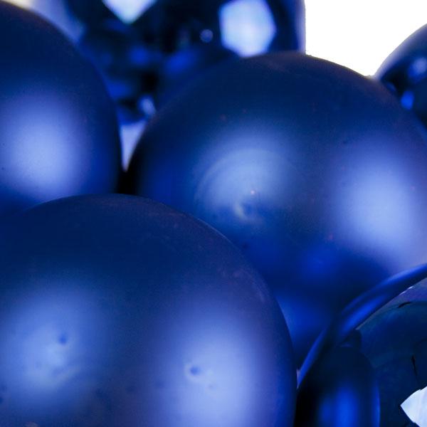 Blue Matt & Shiny Glass Baubles - 36 x 57mm