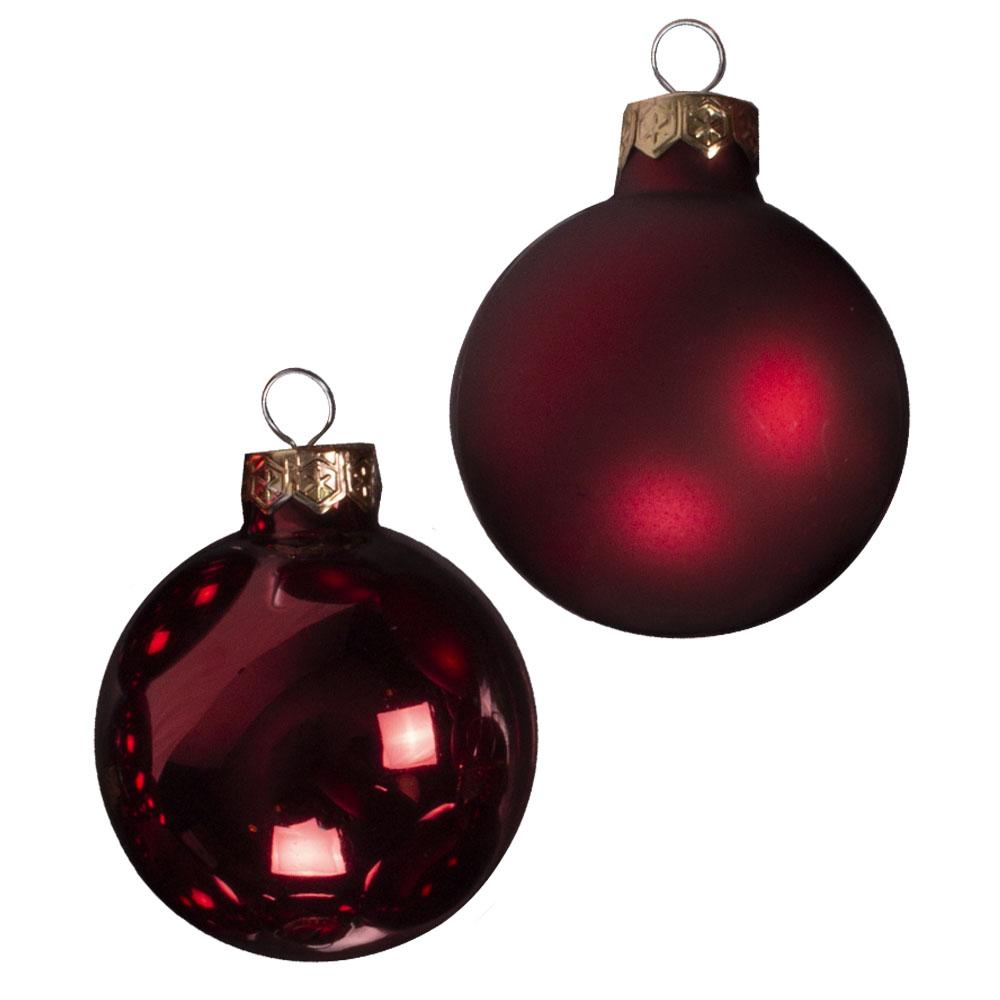Dark Red Matt & Shiny Glass Baubles - 36 x 57mm