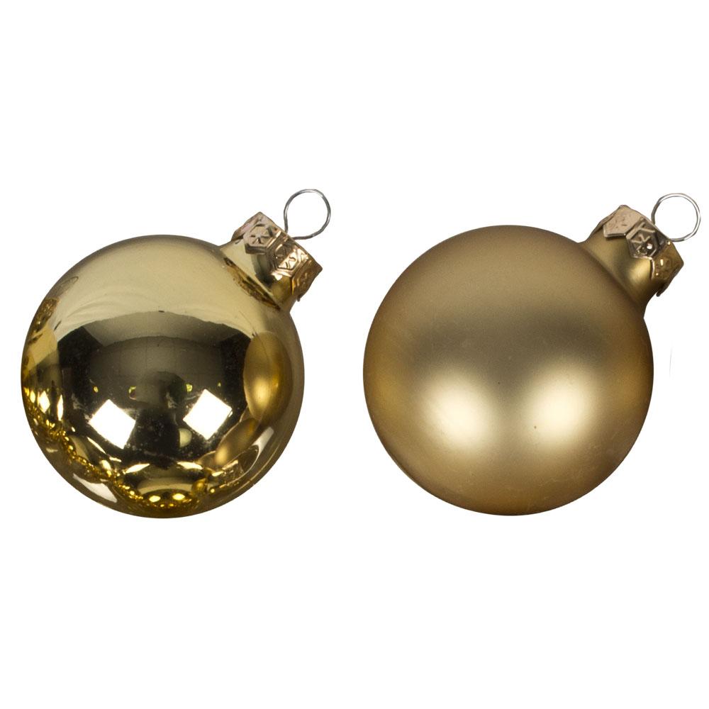 Gold Matt & Shiny Glass Baubles - 36 x 57mm