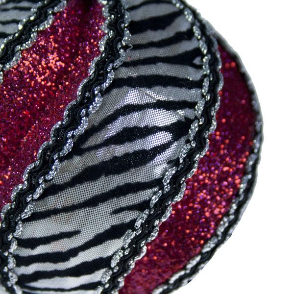 Silver & Fuchsia 100mm Zebra Design Deluxe Swirl Ball