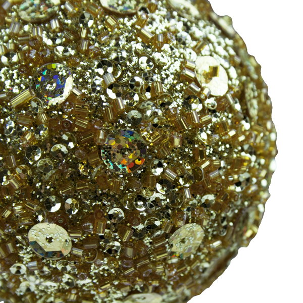 Gold Beaded Ball With Sequins - 65mm