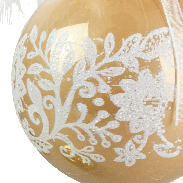 Lace And Feather Decorated Vintage Caramel Seamless Shatterproof Bauble - 85mm