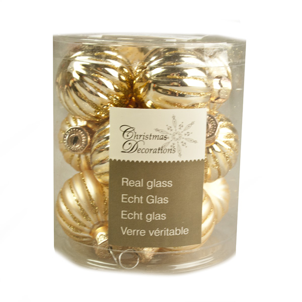 Gold Ribbed Glass Baubles - 12 x 3cm