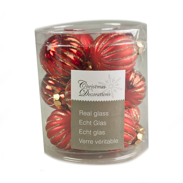 Red Ribbed Glass Baubles - 12 x 3cm