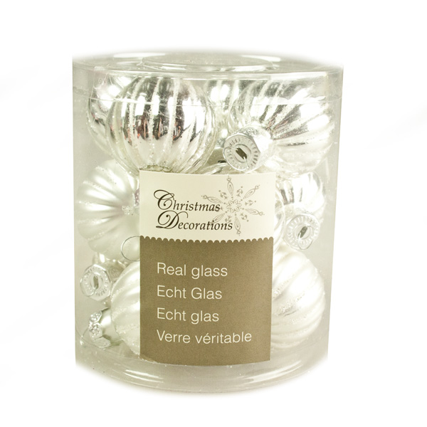 Silver Ribbed Glass Baubles - 12 x 3cm