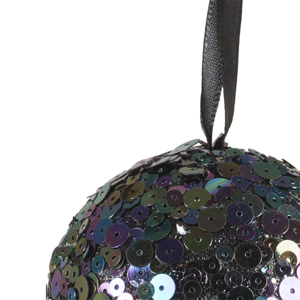 Blue & Black Sequin Sparkle Bauble - 8cm