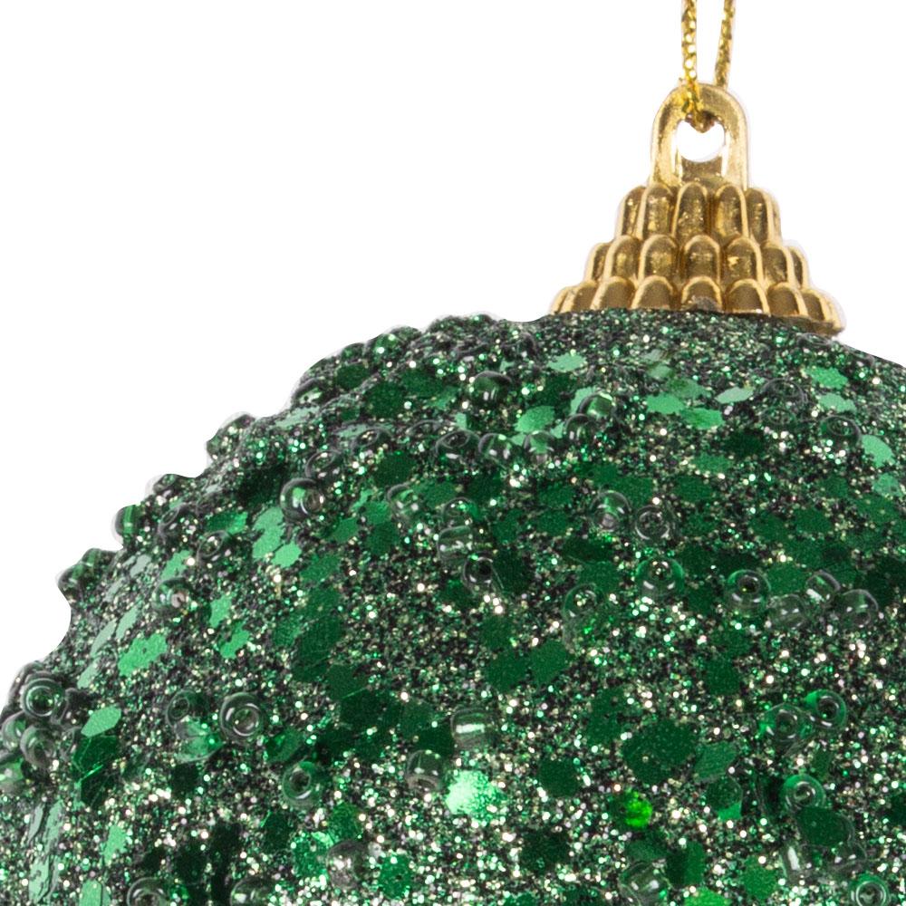 Dark Green Sequin Sparkle Bauble - 8cm