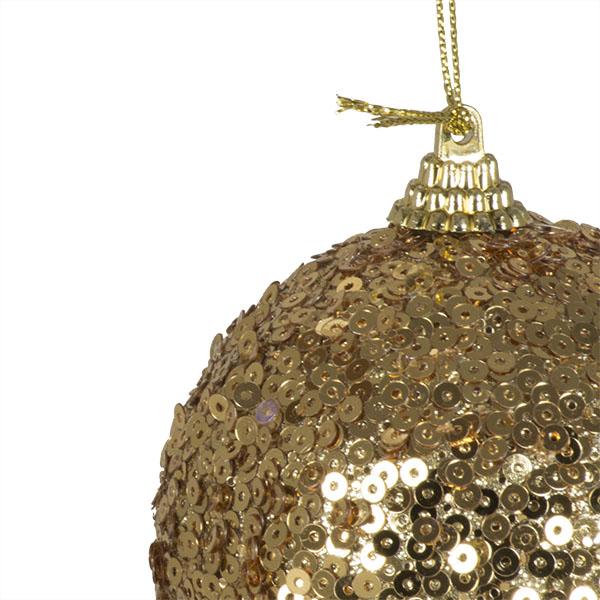 Gold Sequin Sparkle Bauble - 8cm