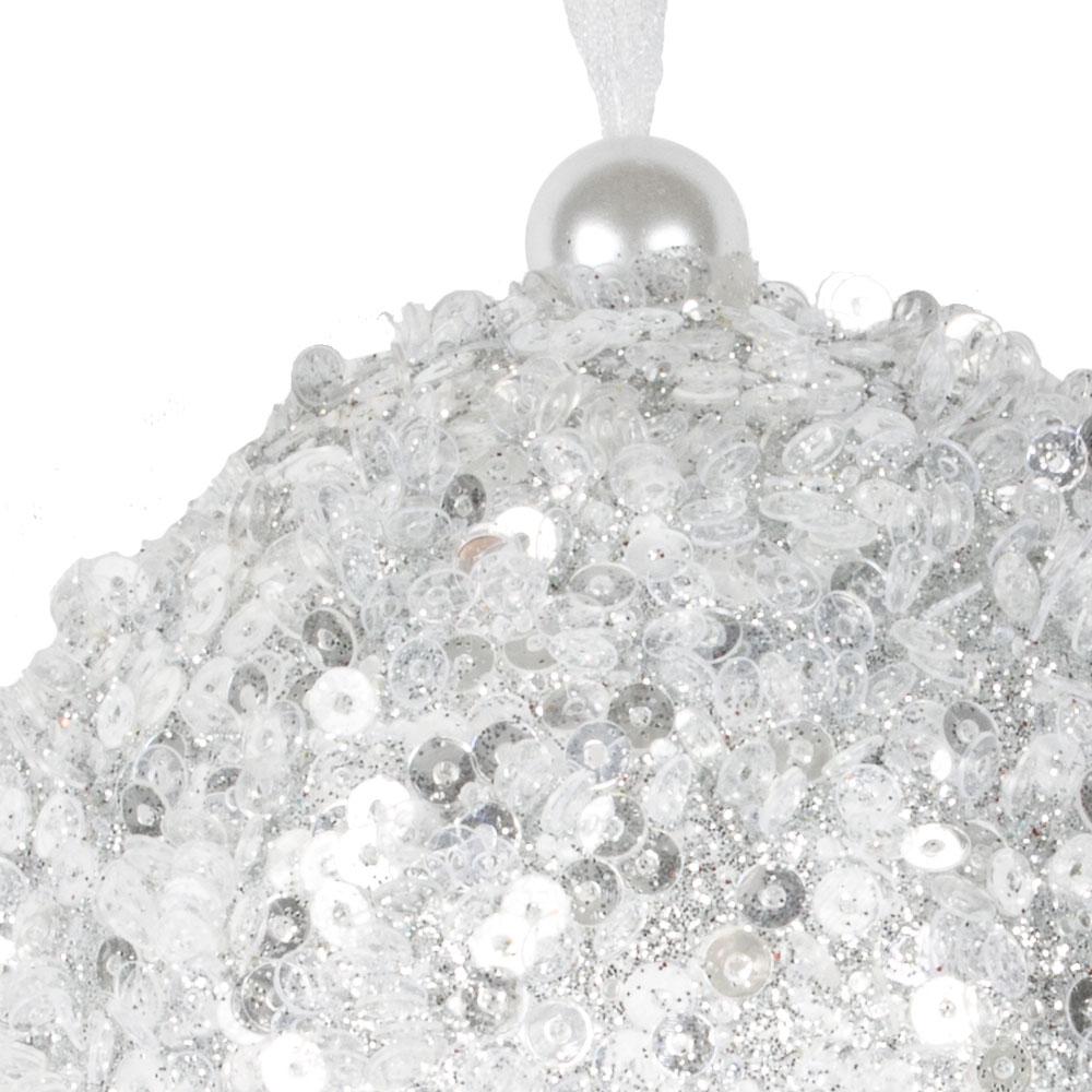 Silver Sequin Sparkle Bauble - 8cm