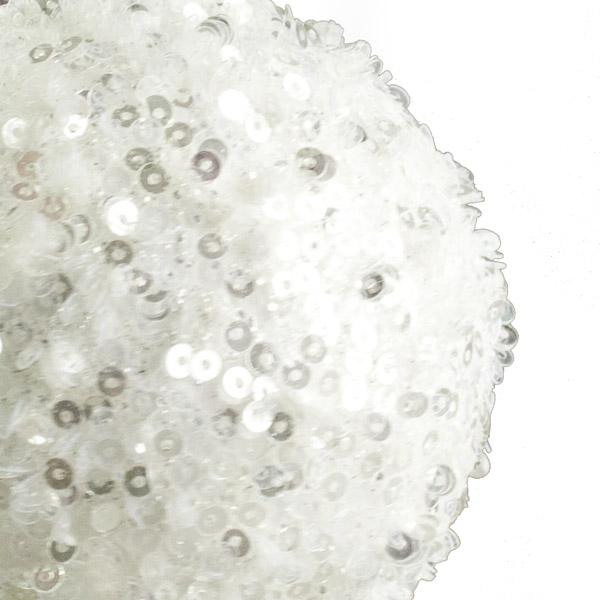 Winter White Sequin Sparkle Bauble - 8cm