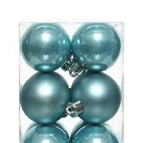 Arctic Blue Fashion Trend Shatterproof Baubles - Pack of 16 x 40mm