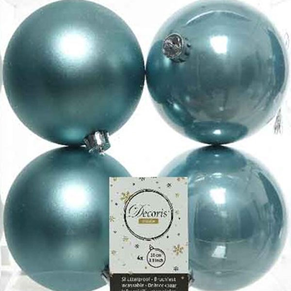 Arctic Blue Fashion Trend Shatterproof Baubles - Pack Of 4 x 100mm