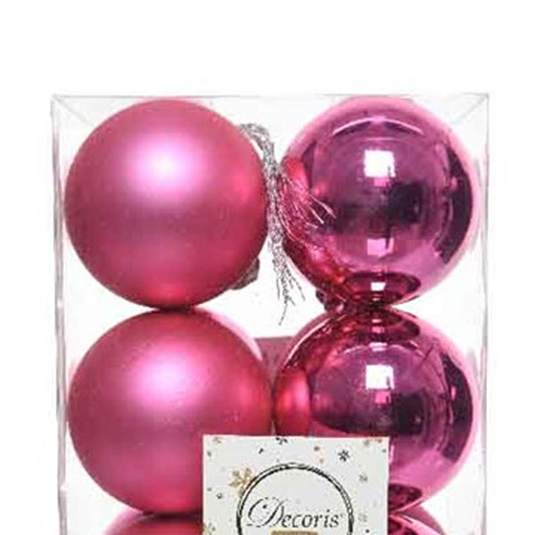 Bubblegum Pink Fashion Trend Shatterproof Baubles - Pack Of 12 x 60mm
