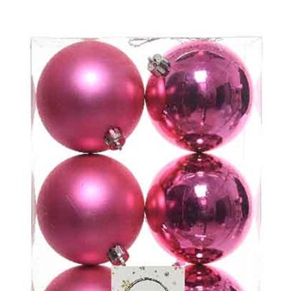 Bubblegum Pink Fashion Trend Shatterproof Baubles - Pack Of 6 x 80mm