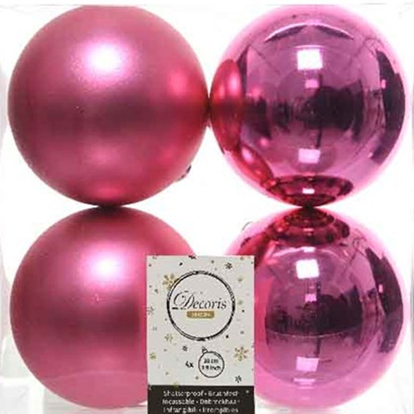 Bubblegum Pink Fashion Trend Shatterproof Baubles - Pack Of 4 x 100mm