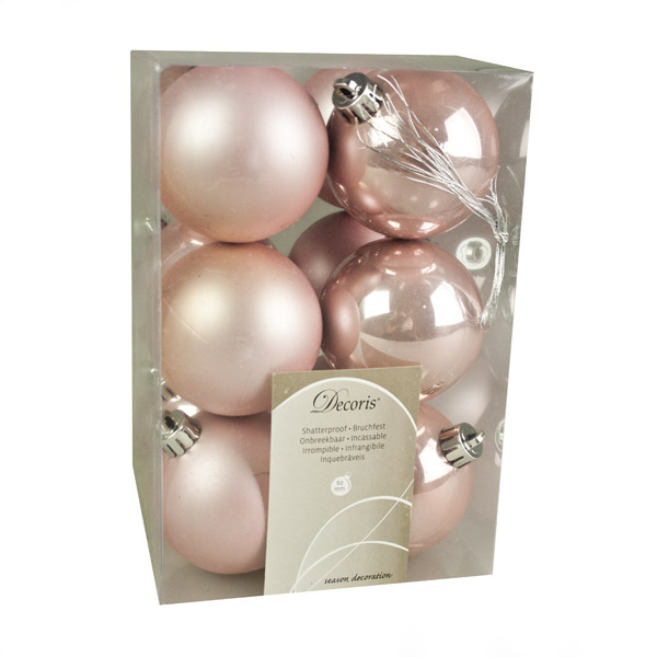 Blush Pink Fashion Trend Shatterproof Baubles - Pack Of 12 x 60mm
