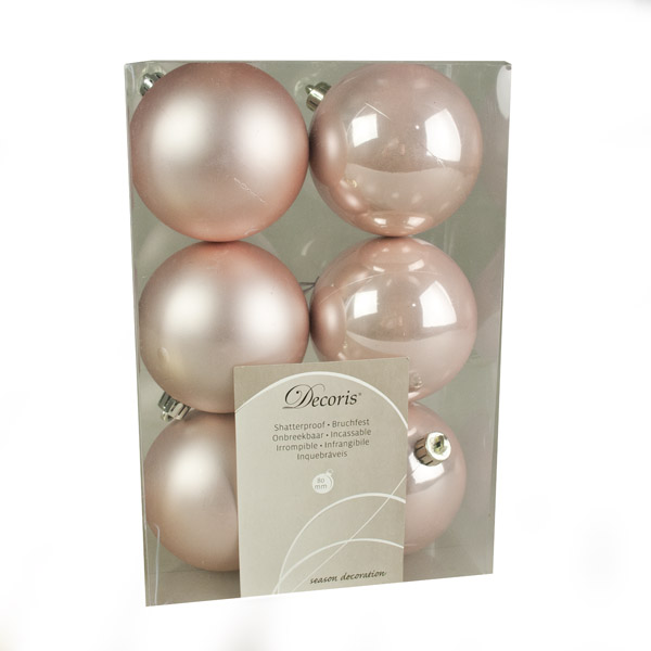 Blush Pink Fashion Trend Shatterproof Baubles - Pack Of 6 x 80mm
