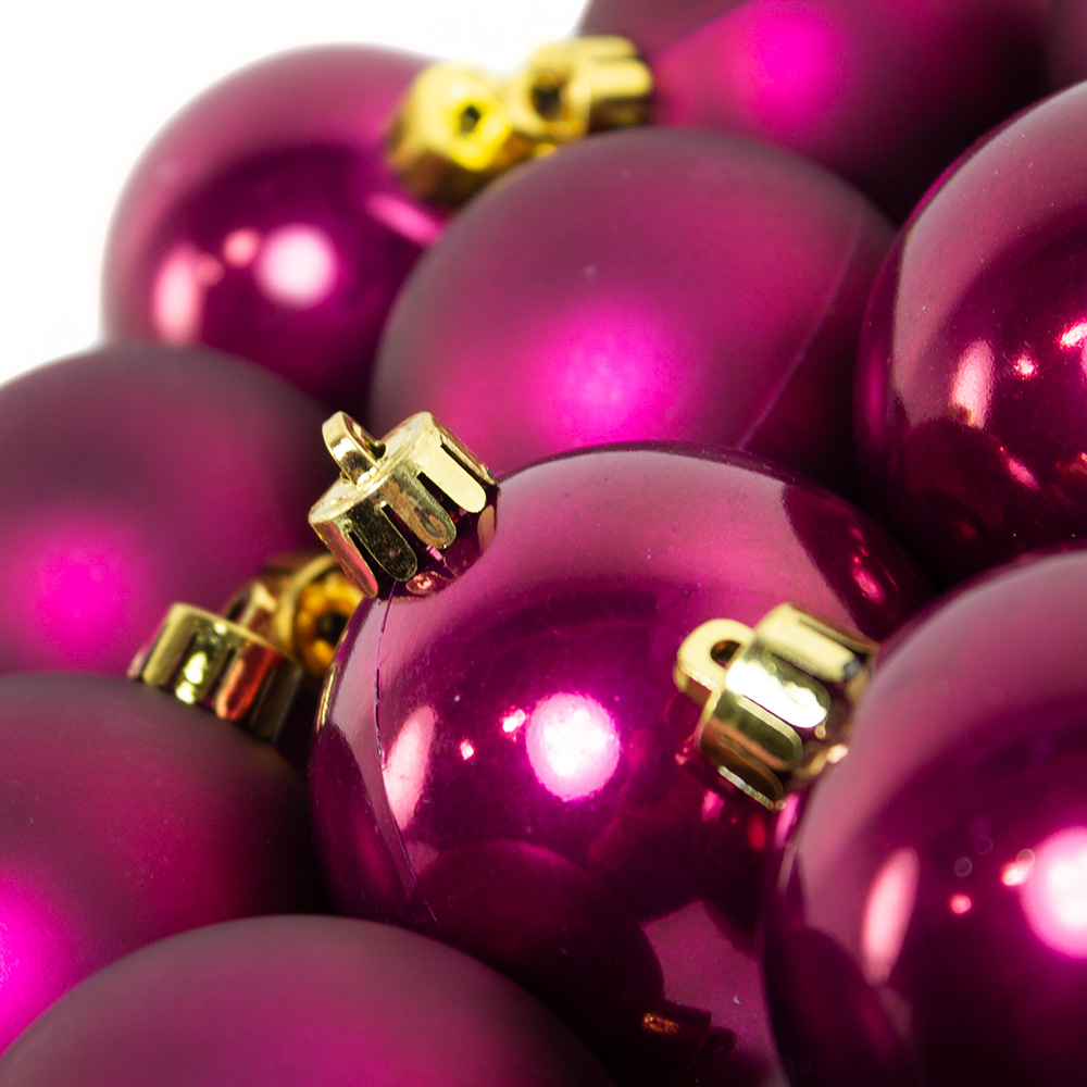 Deep Magnolia Pink Fashion Trend Shatterproof Baubles - Pack Of 12 x 60mm