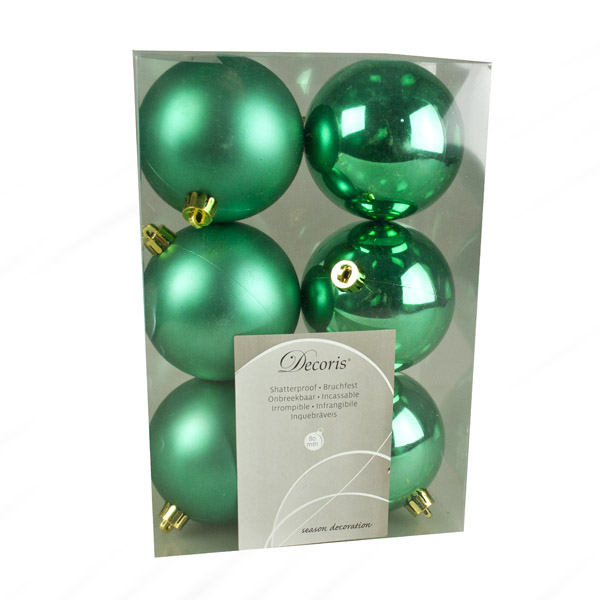 Emerald Green Fashion Trend Shatterproof Baubles - Pack Of 6 x 80mm