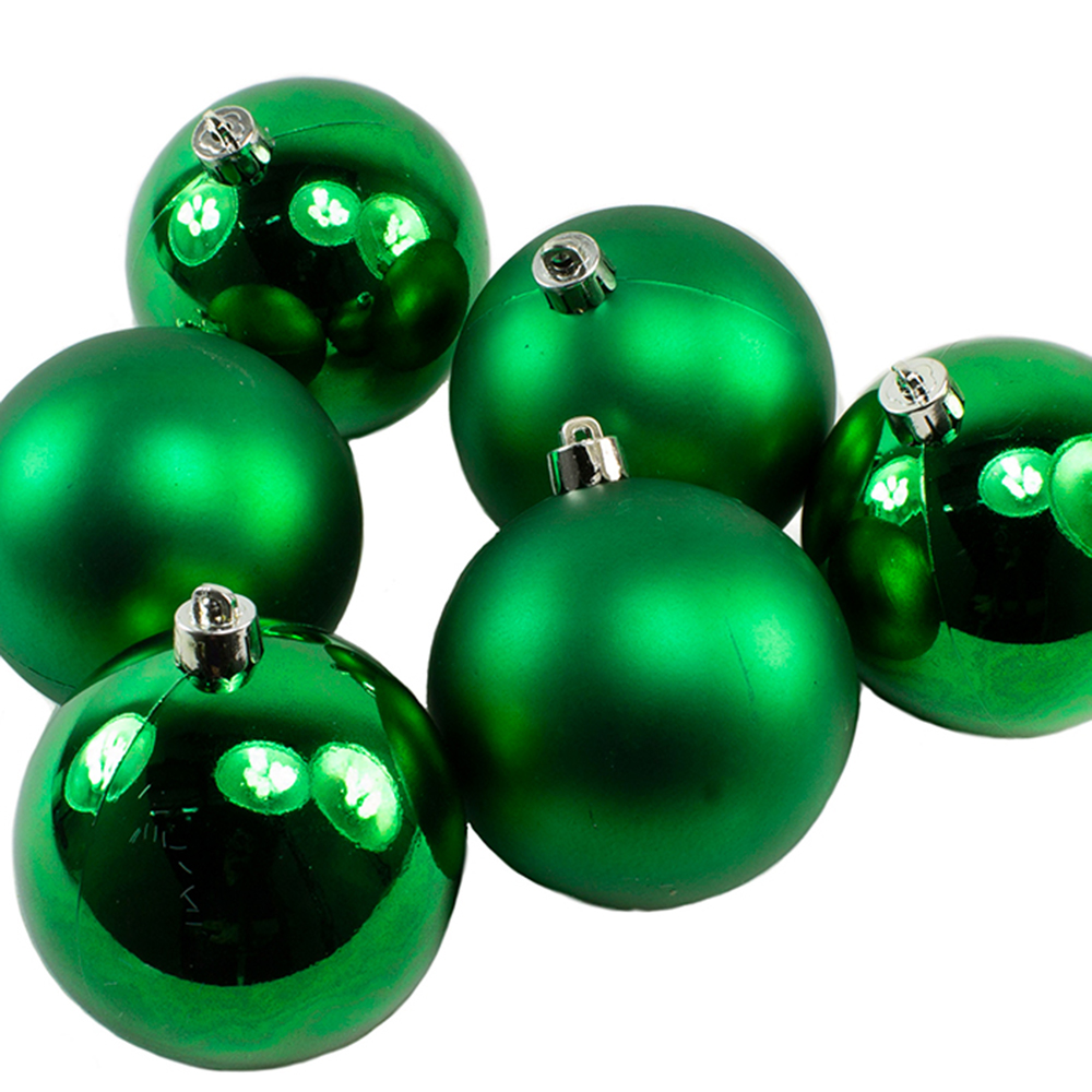 Holly Green Fashion Trend Shatterproof Baubles - Pack Of 6 x 80mm