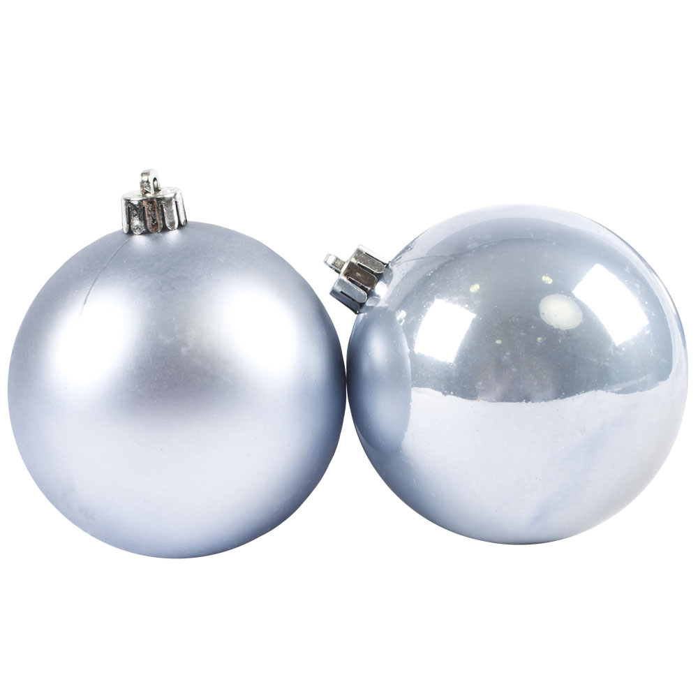 Ice Blue Fashion Trend Shatterproof Baubles - Pack Of 6 x 80mm