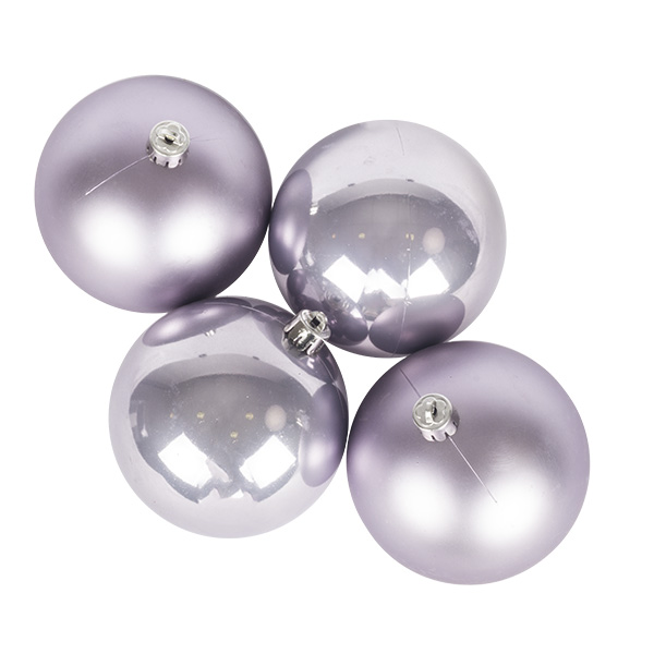 Lilac Mist Fashion Trend Shatterproof Baubles - Pack Of 4 x 100mm