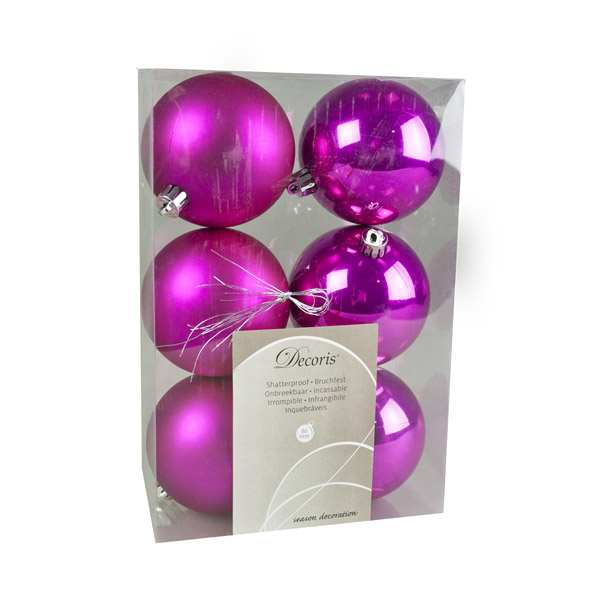 Magenta Pink Fashion Trend Shatterproof Baubles - Pack Of 6 x 80mm