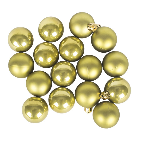 Olive Green Fashion Trend Shatterproof Baubles - Pack of 16 x 40mm