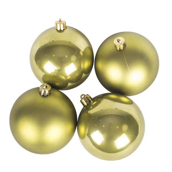 Olive Green Fashion Trend Shatterproof Baubles - Pack Of 4 x 100mm