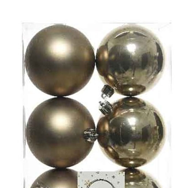 Pale Brown Fashion Trend Shatterproof Baubles - Pack Of 6 x 80mm
