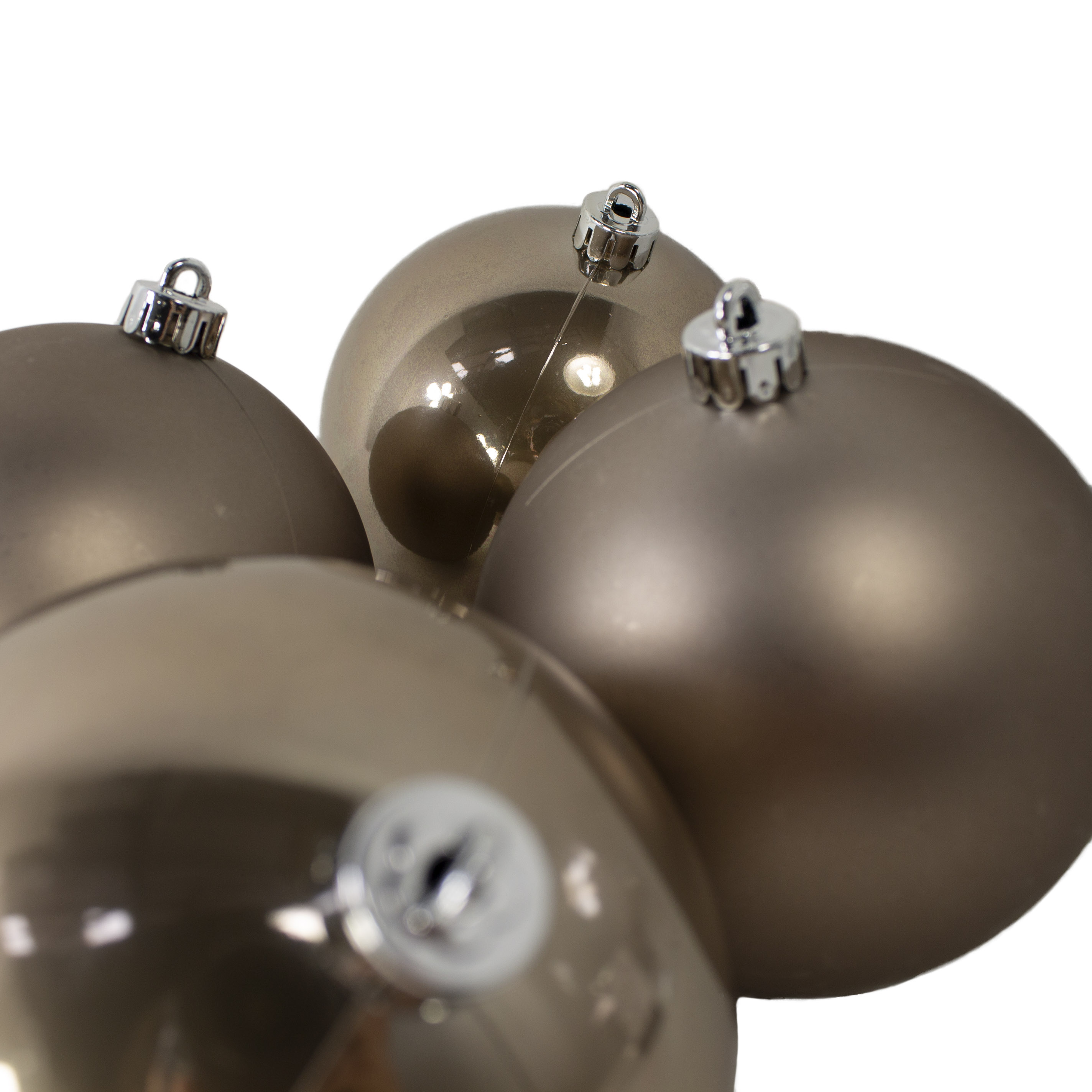 Pale Brown Fashion Trend Shatterproof Baubles - Pack Of 4 x 100mm