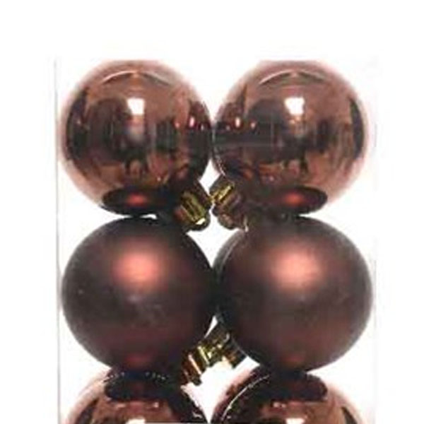 Rosewood Brown Fashion Trend Shatterproof Baubles - Pack Of 16 x 40mm