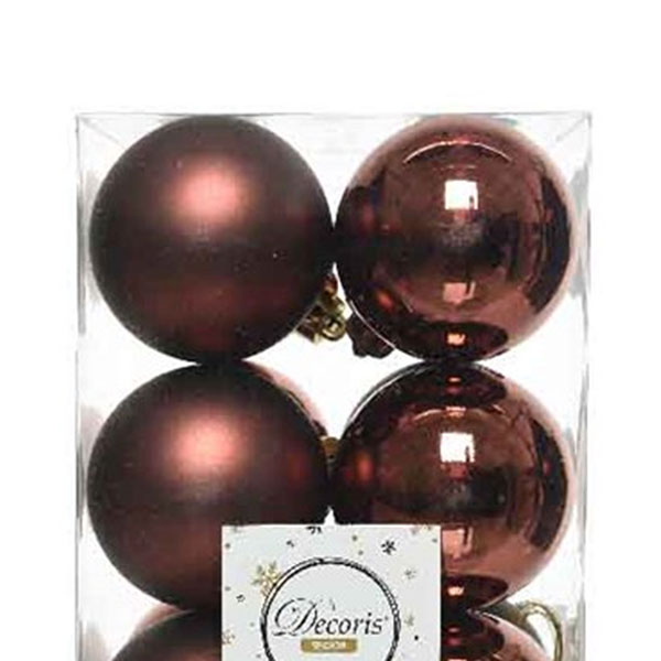 Rosewood Brown Fashion Trend Shatterproof Baubles - Pack Of 12 x 60mm