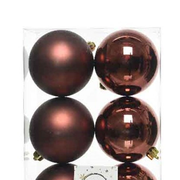 Rosewood Brown Fashion Trend Shatterproof Baubles - Pack Of 6 x 80mm