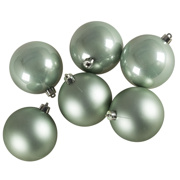 Pale Sage Green Fashion Trend Shatterproof Baubles - Pack Of 6 x 80mm