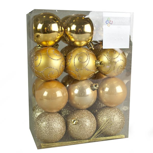 Gold Mixed Finish Shatterproof Baubles - 24 X 60mm (021-26991-GD)