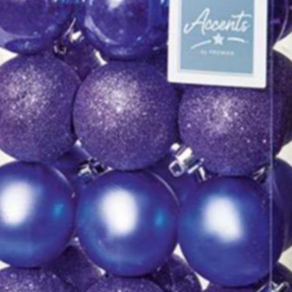 Lilac Mixed Finish Shatterproof Baubles - 24 X 60mm