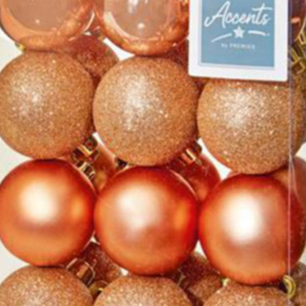 Rose Gold Mixed Finish Shatterproof Baubles - 24 X 60mm