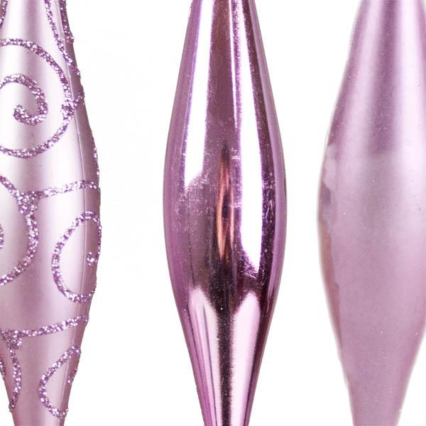 Pink Shatterproof Mixed Finish Hanging Teardrops - 6 X 150mm