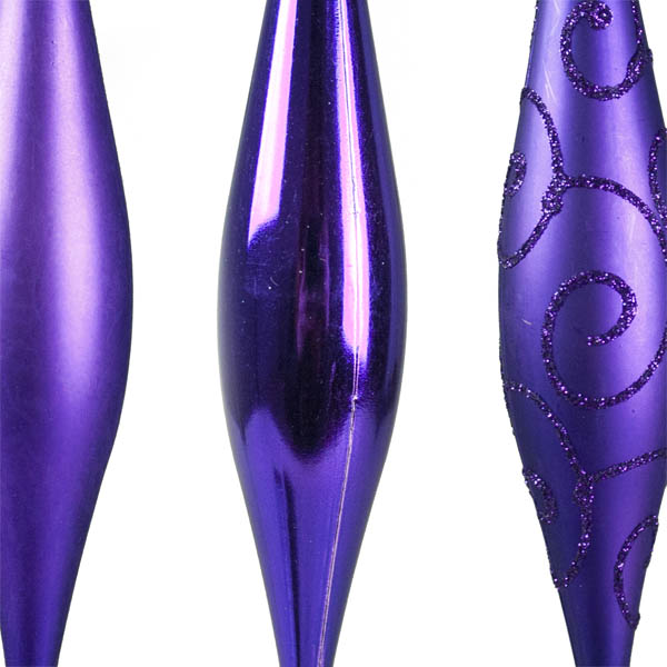 Purple Shatterproof Mixed Finish Hanging Teardrops - 6 X 150mm