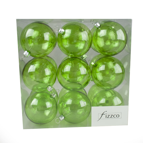 Lime Green Tinted Transparent Shatterproof Baubles - Pack of 18 x 67mm