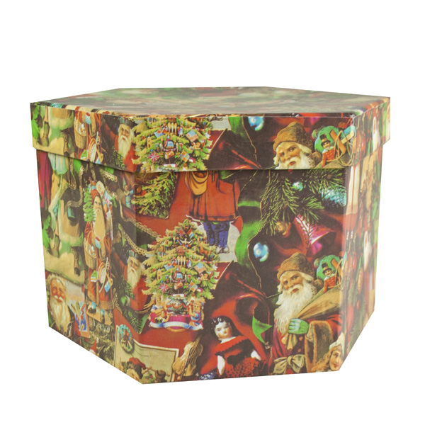 Traditional Santa Decoupage Baubles In Gift Box - 14 X 75mm (021-27307)