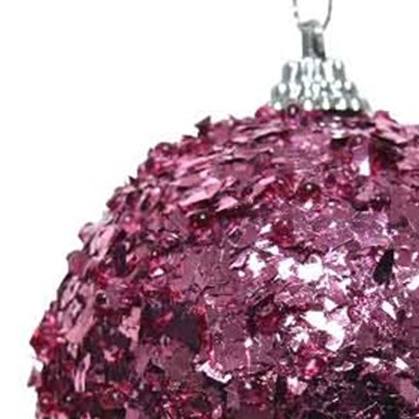 Spangle Bauble With Bubblegum Pink Foil Finish - 80mm