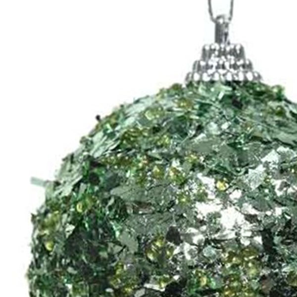 Spangle Bauble With Pale Sage Green Foil Finish - 80mm