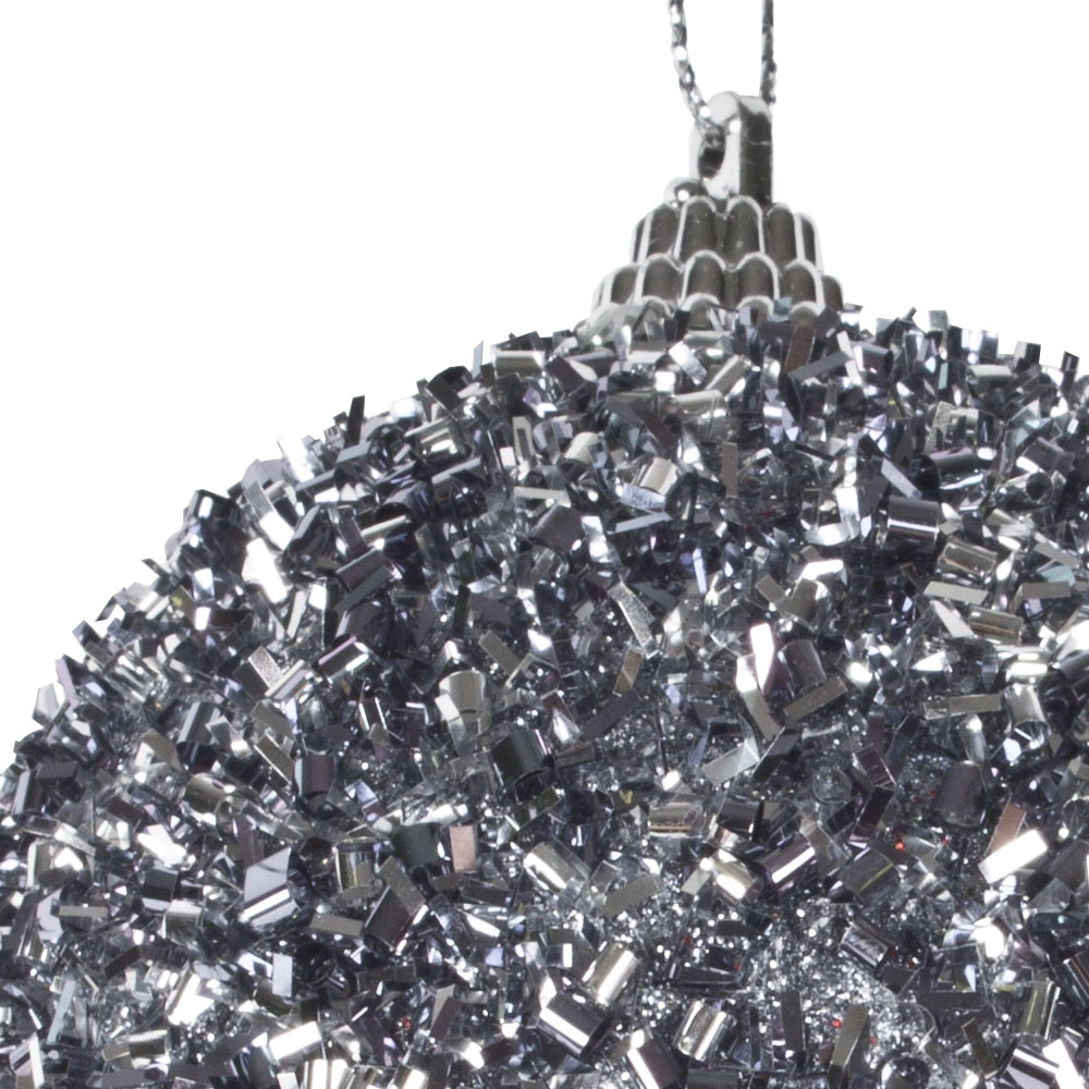 Spangle Bauble With Stone Grey Glitter Finish - 80mm