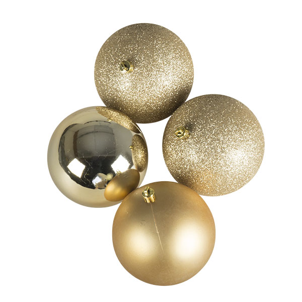 Mixed Finish Champagne Gold Shatterproof Baubles - 4 X 100mm