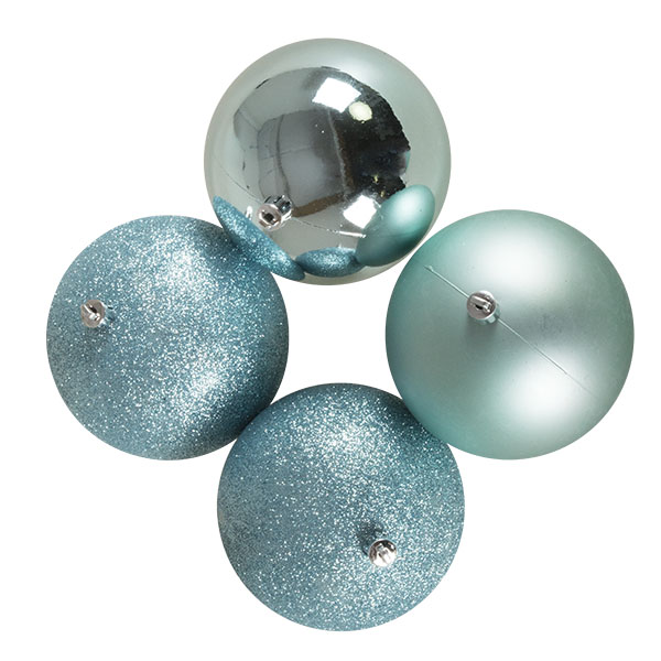 Mixed Finish Ice Blue Shatterproof Baubles - 4 X 100mm