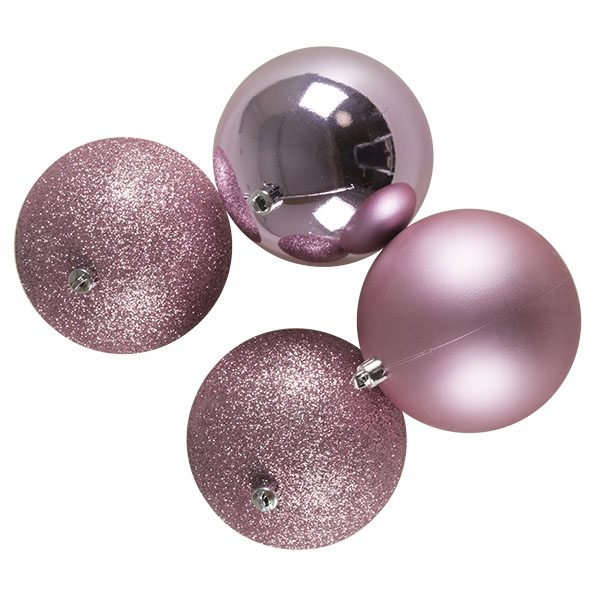 Mixed Finish Pink Shatterproof Baubles - 4 X 100mm