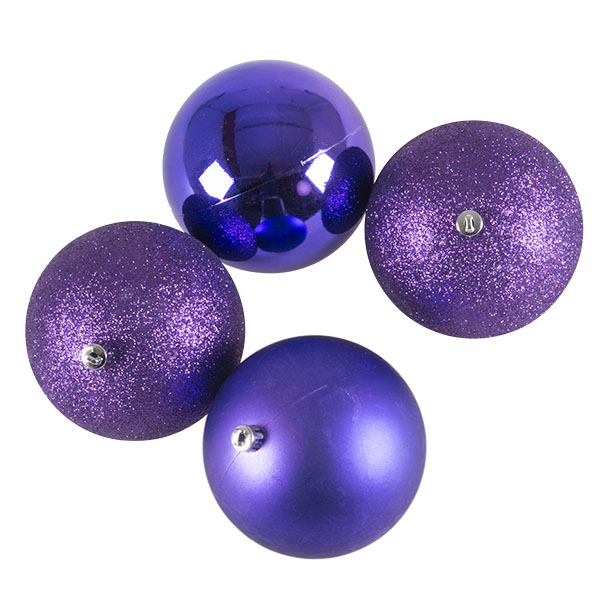 Mixed Finish Purple Shatterproof Baubles - 4 X 100mm